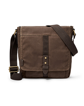 FOSSIL Travis Citybag Brown Coanted Wax Canvas
