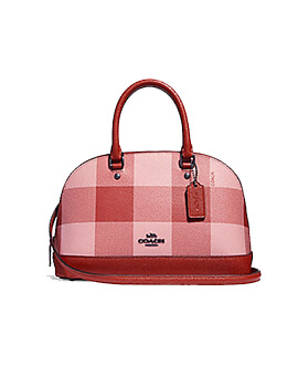 coach mini sierra plaid blush multi