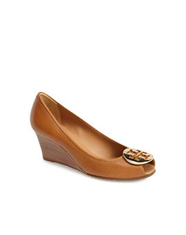 TORY BURCHTB Sally 2 Open Toe Wedges in Royal Tan GHW