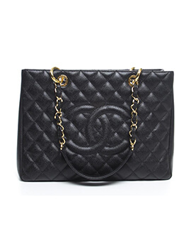 Chanel Grand Shopping Tote Caviar Black Leather Gold Hardware