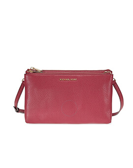 MICHAEL KORS DOUBLE GUSSET CROSSBODY BROWN MULBERRY