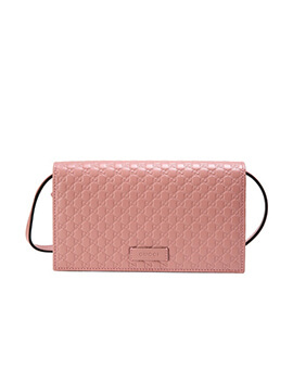 GUCCI Microguccisima Wallet On Chain WOC in Dusty Pink