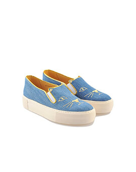 CHARLOTTE OLYMPIA CL Kitty Slip On in Blue Denim