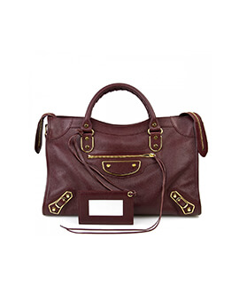 BALENCIAGA Small City Bordeaux Edge