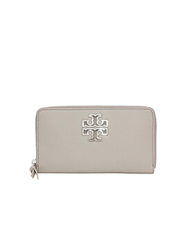 TORY BURCH BRITTEN ZIP CONTINENTAL FRENCH GREY WALLET