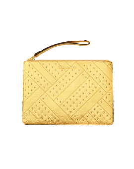 MICHAEL KORS XL ZIP CLUTCH GOLD