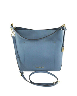 MICHAEL KORS LARGE HAYES BUCKET DENIM SHOULDER BAG