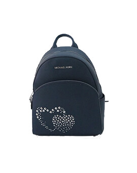 MICHAEL KORS MEDIUM ABBEY HEART NAVY BACKPACK
