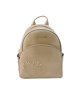 MICHAEL KORS MEDIUM ABBEY HEART GOLD BACKPACK