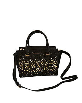 MICHAEL KORS SELMA MEDIUM STUDDED LOVE BLACK