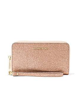 MICHAEL KORS LARGE FLAT PHONE CASE GLITTER ROSE GOLD WALLET
