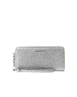 MICHAEL KORS LARGE FLAT PHONE CASE GLITTER SILVER WALLET