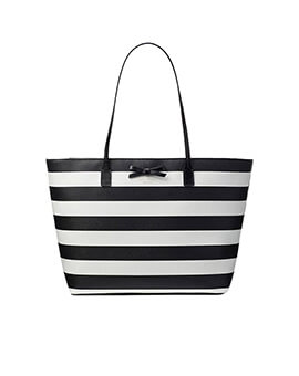 KATE SPADE MARGARETA BLACK CREAM TOTE BAG