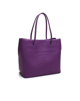 MARC JACOBS LOGO SHOPPER PURPLE TOTE LEATHER SHOULDER BAG